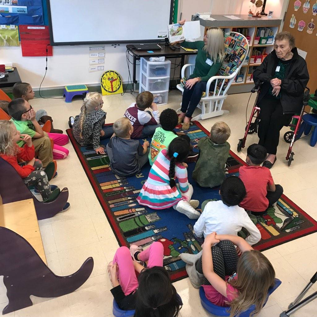 The mystery readers in Mrs. Steigerwald's room bring a story to life for first graders.
