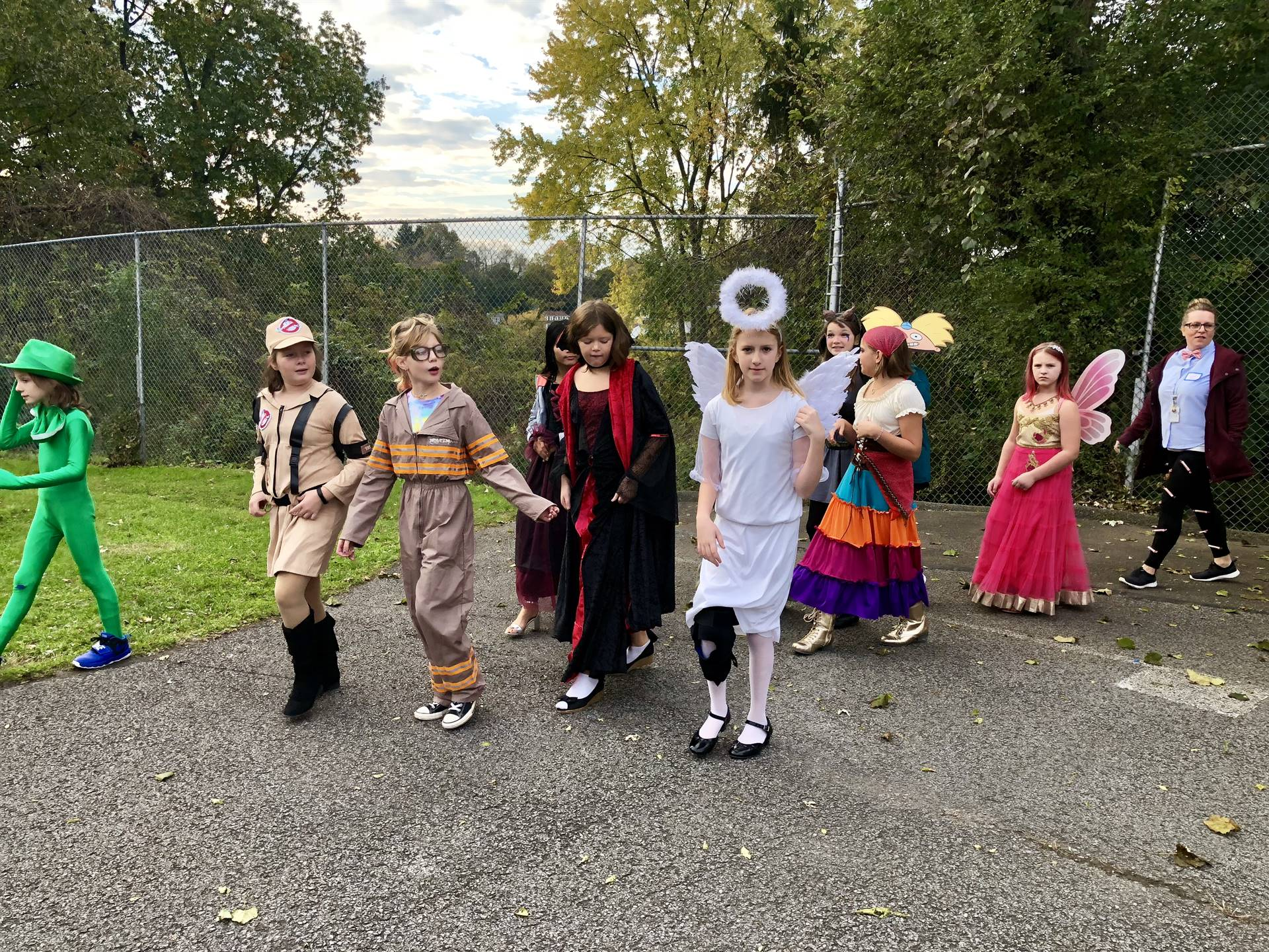Students walking in costumes.
