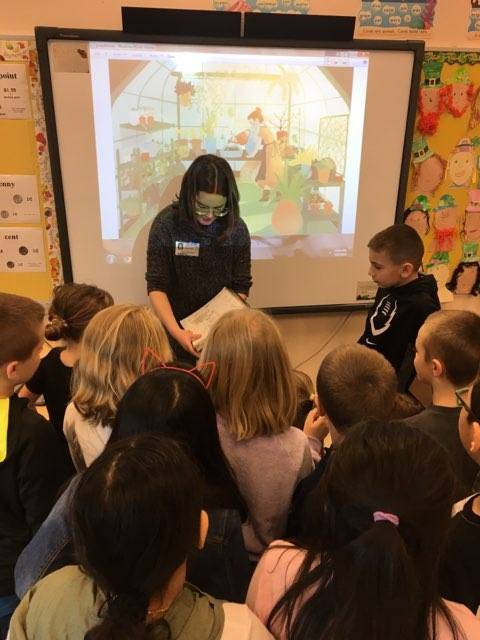 Illustrator Angela Palma visits Mrs. Miller's students.