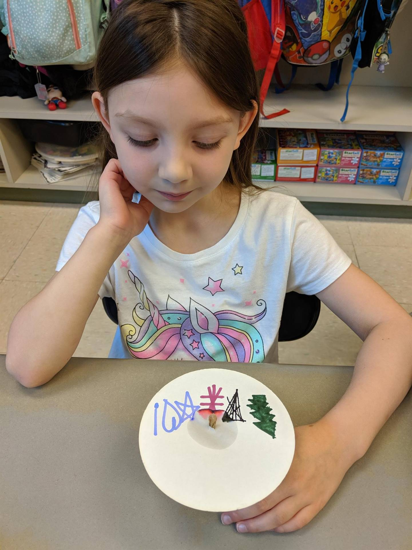 Kindergarten students sharing science experiment